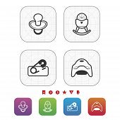 image of teats  - Four icons in relation to a Baby born time / Baby care objects pictured here from left to right top to bottom: 