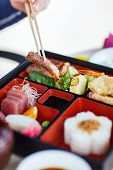 picture of lunch box  - Delicious Japanese lunch bento box with rice - JPG