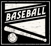 picture of baseball bat  - Black and white chalk drawing of baseball items - JPG