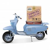 stock photo of scooter  - Express delivery scooter with carton box isolated on white background - JPG