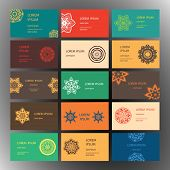stock photo of indian wedding  - Set of business card and invitation card templates with lace ornament - JPG