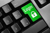 picture of vpn  - dark grey keyboard green button login lock symbol - JPG