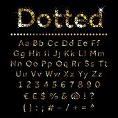 image of dots  - Gold dotted glittering metal alphabet - JPG