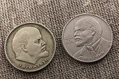 picture of lenin  - coins with a portrait of Lenin on a gray background - JPG