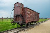 stock photo of nazi  - Holocaust Death Camp cattle car train from Nazi Germany concentration camp Auschwitz - JPG