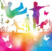 stock photo of leaping  - Colorful abstract illustration of a Young Boys Playing Running and Leaping through a haze of summer blurs - JPG