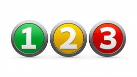 stock photo of three dimensional shape  - Icons numbers 1 2 3  - JPG