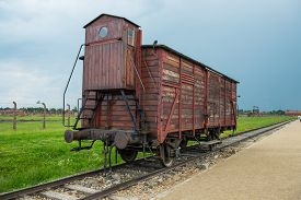 picture of auschwitz  - Holocaust Death Camp cattle car train from Nazi Germany concentration camp Auschwitz - JPG