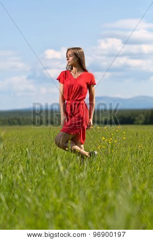 Young Girl In A Red Dress On Lawn