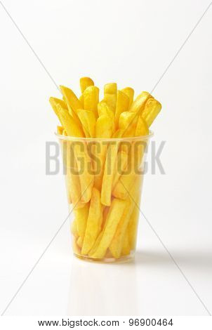 plastic cup of french fries on white background
