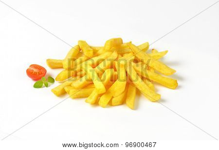 heap of french fries on white background