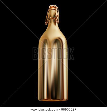 Illustration Of A Gold Bottle Isolated