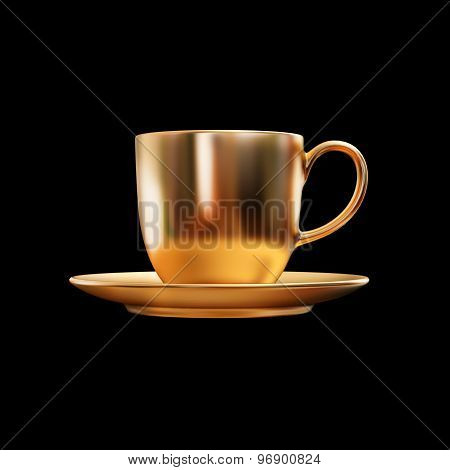 Illustration Of A Gold Teacup Isolated