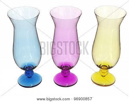 Set Of Glasses In Blue, Pink And Yellow
