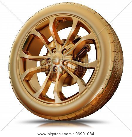 Illustration Of A Golden Tire Isolated