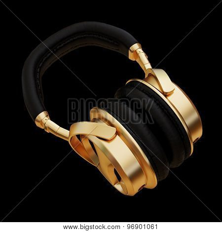 Illustration Of A Gold Headphones Isolated