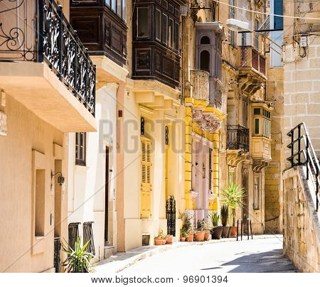picturesque typical narrow street of Valletta in Malta