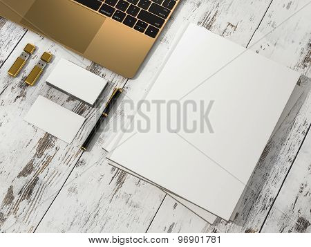 Blank Magazine  And Notebook Mockup On Vintage Wooden Substrate