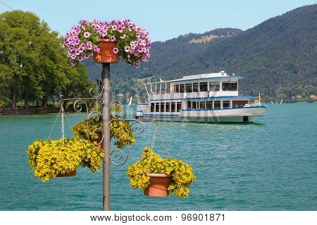 Passenger Liner In Bad Wiessee Harbor And Summer Flowers At Lake Tegernsee, Bavaria