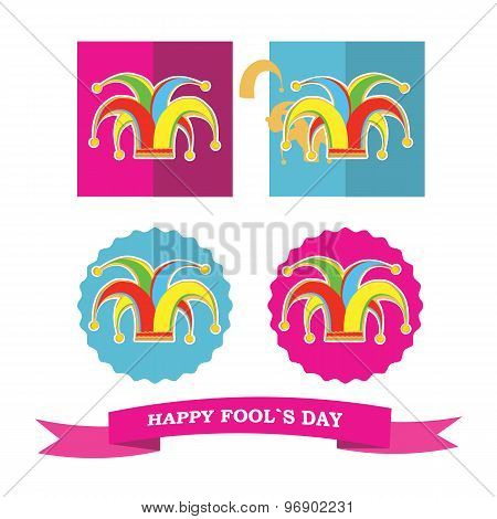 Vector Set From Colorful Silhouette Clowns Hat