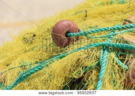 Fishing nets closeup. Background of fishing nets and floats.