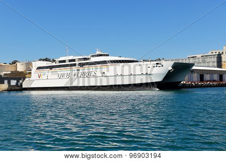 Valletta, Malta - April 22: The Speed Ferry Is Going To Sicily, Italy On April 22, 2015 In Valletta,