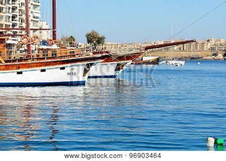 Sliema, Malta - April 22: The Hera Cruises Yachts And View On Valletta On April 22, 2015 In Sliema,
