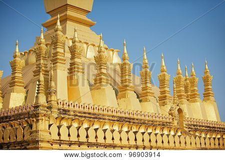 Exterior detail of the Pha That Luang stupa in Vientiane, Laos.