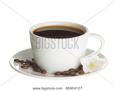 Cup Of Coffee And Flower Bell