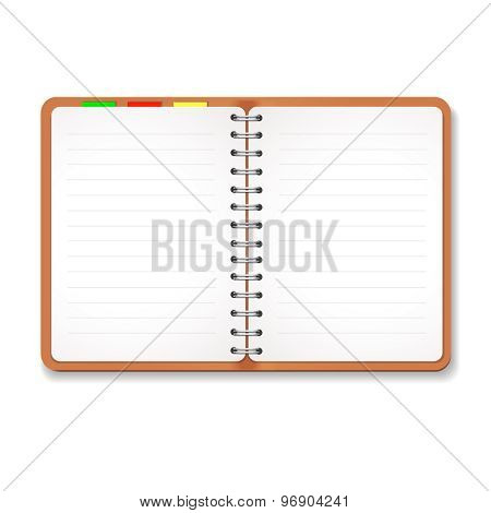 Illustration of a leather notebook with spiral, colorful tabs,  blank lined paper