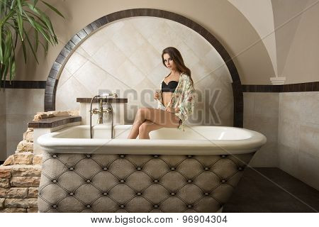 Sensual Woman In Elegant Bathroom