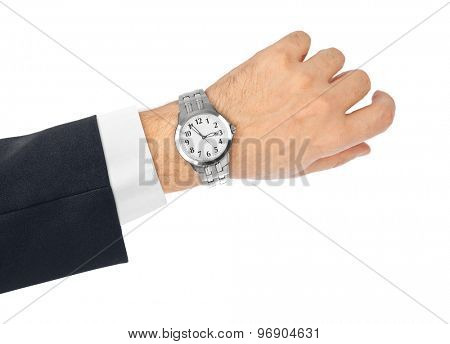 Hand and watch isolated on white background