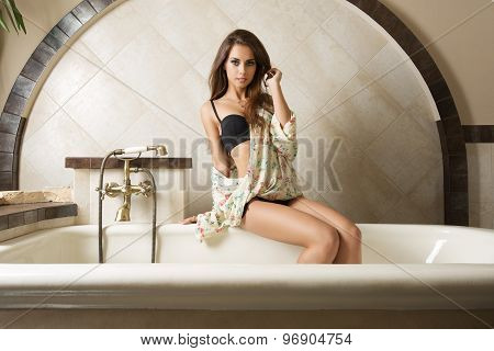 Cute Girl In Elegant Bathroom