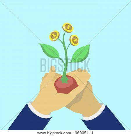Flat design colorful vector illustration of a hand holding money plants, concept for making money, i