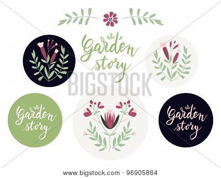 Set of additional design elements and badges with floral motifs