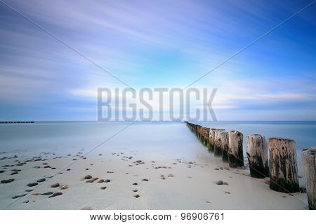 Baltic Sea And Breakwater. Long Exposure