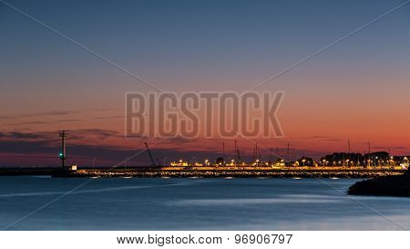 Port Of Hel Night. Poland, Hel Peninsula