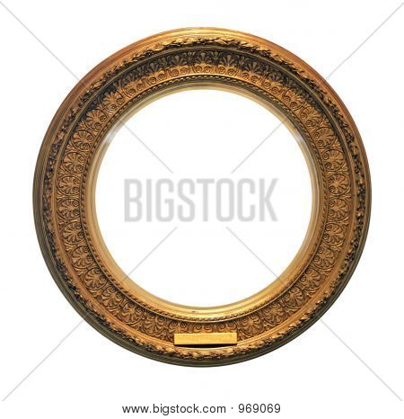 Antique Round Golden Frame (With Clipping Path)
