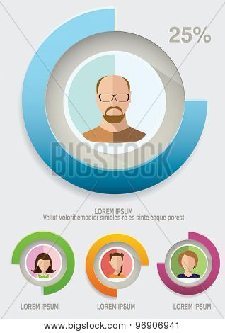 Abstract Infographic elements with Avatars and icons.