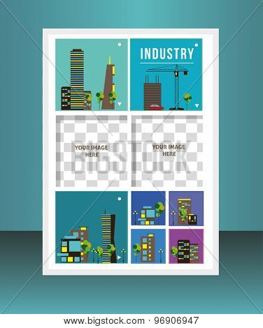 Buildings. Vector  business brochure or magazine cover  template