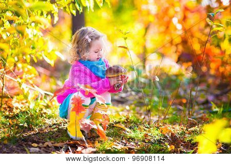 Little Girl Picking Mushrooms