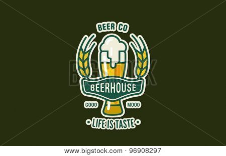 Beer Glass Logo abstract design Retro vector template. Brewery, Pub, Bar Logotype vintage style lineart icon.