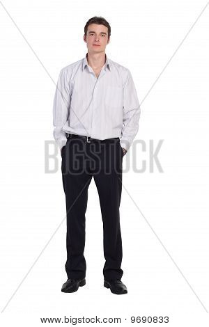 man standing in shirt and pants isolated