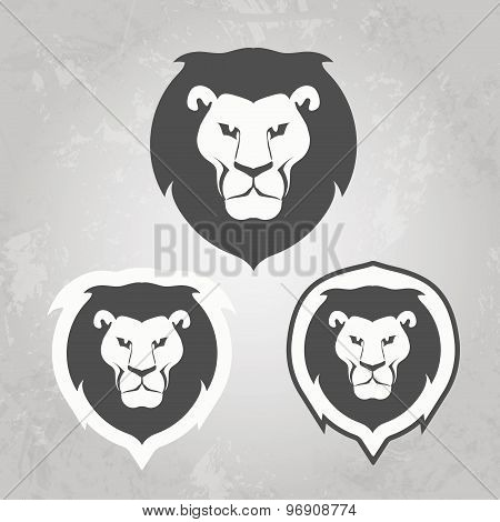 Set of Lion logo templates, for your business, collection of symbols to convey idea of strength powe