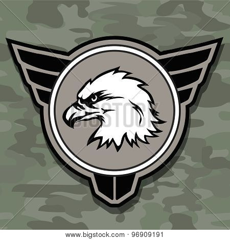 Eagle head logo emblem template mascot symbol for business or shirt design. Vector military design