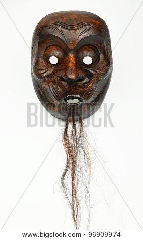 Japanese Wooden Theater Human Face Mask Isolated On White