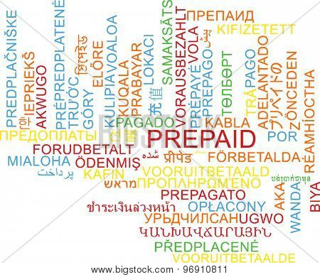 Background concept wordcloud multilanguage international many language illustration of prepaid