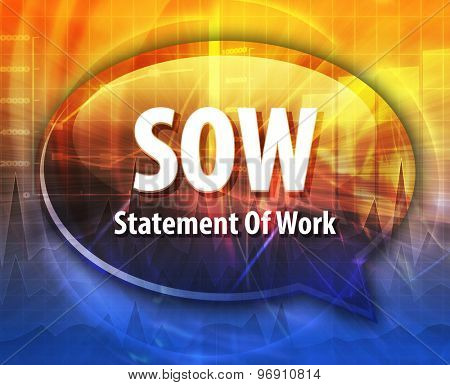 word speech bubble illustration of business acronym term SOW Statement of Work