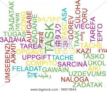 Background concept wordcloud multilanguage international many language illustration of task