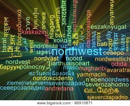 Background concept wordcloud multilanguage international many language illustration of northwest glowing light